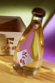 A bottle of sake with a label