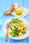 Parsnip salad with leek, lamb's lettuce and dried tomatoes