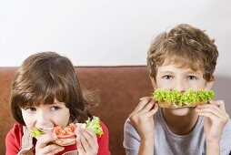 Two children eating sandwiches