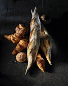 Croissants, baguettes, a muffin and brioche
