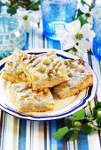 Pieces of gooseberry cake with marzipan