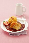 Fish rolls with balsamic strawberry sauce