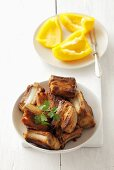 Barbecued pork ribs, yellow pepper