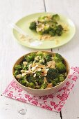 Broccoli salad with flaked almonds