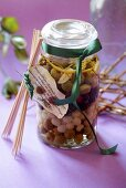 Pickled olives and silverskin onions to give as a gift