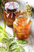 Apple and pear jam with rowan berries