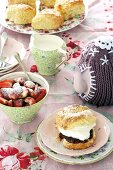 Lavender scones with cream and strawberry jam