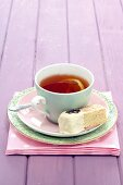 Coconut shortbread with lavender, cup of tea