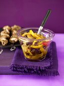 Lemon chutney and meat kebabs