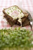 Soft cheese, cress and radishes on whole grain bread