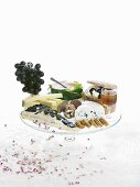 Cheese platter with French cheeses and port wine