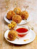 Prawn and sweet potato balls with chilli sauce