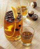 Orange coffee liqueur in a carafe