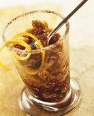 Coffee granita in a glass