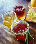 Three jellies: lime, carambola & redcurrant, Campari & lemon