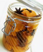 Pickled squash in preserving jar