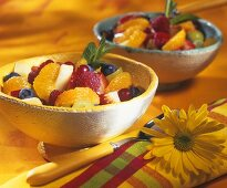 Fresh fruit salad in two small bowls