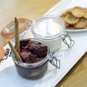 Preserved figs, cream and almond tart cases