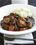 Beef and mushroom ragout with mashed potato
