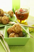 Shrimp and coconut balls with chili sauce