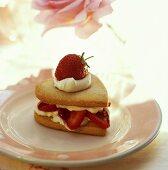 Individual heart-shaped strawberry shortcake