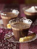 Three glasses of hot chocolate