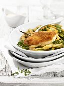 Roast chicken breast with asparagus
