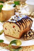 Fruit cake with chocolate icing