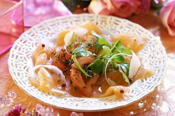 Marinated salmon with corn salad