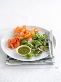 Smoked salmon with a side salad and a herb dressing