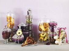 A arrangement of dried fruit and vegetables