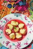 Grilled plums with cheese