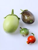 Various aubergines (cultivars: Applegreen and Redona)