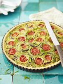 Chive and tomato quiche
