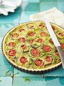Chive and tomato quiche