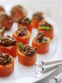 Carrots stuffed with mince