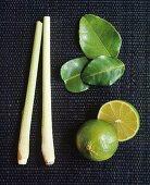 Lemon grass, kaffir lime leaves and halved lime