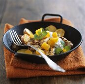 Chicken breast with pumpkin, potatoes and herb yoghurt