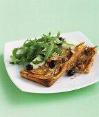 Potato & rosemary quiche with buffalo mozzarella, olives, rocket