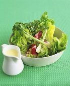 Lettuce with spring onions, radishes and dressing