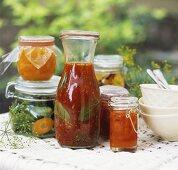 Bottled and pickled vegetables in preserving jars