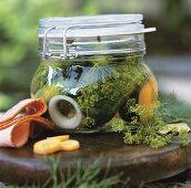 Pickled gherkins in a preserving jar