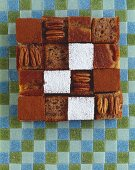 Cubes of banana bread with pecans