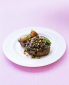 Fillet steak with herb butter and potatoes