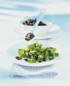 Johannisbeerblätter-Salat mit Kürbiskernen