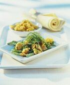 Schafgarbenblätter-Salat mit Bröseln