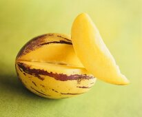 Pepino melon with a section cut out