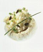 Mushroom stuffed with cottage cheese and raisins