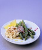 Crab salad with green asparagus