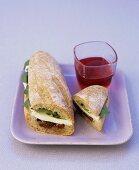 Tomato, mozzarella and basil sandwich